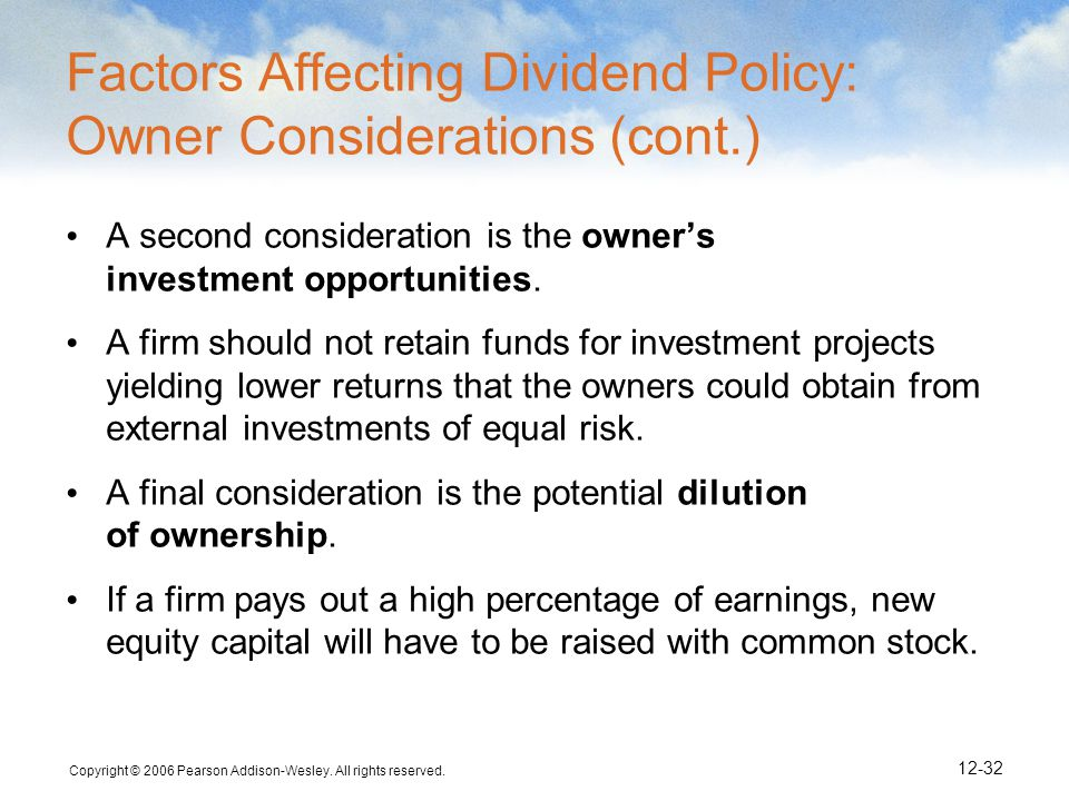 Factors Affecting Dividend Policy: Owner Considerations (cont.)