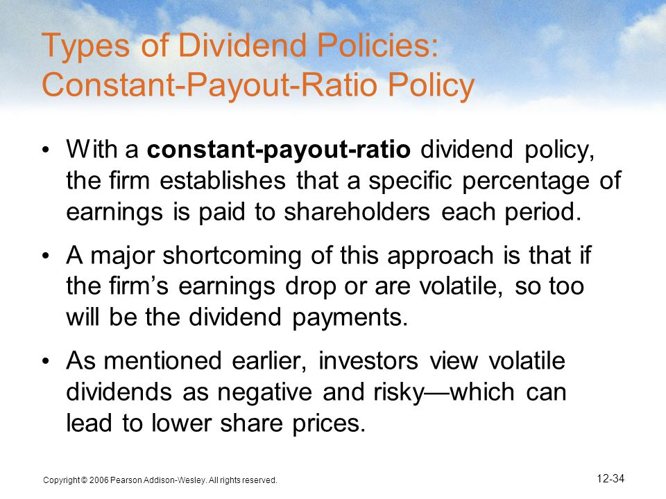 Types of Dividend Policies: Constant-Payout-Ratio Policy