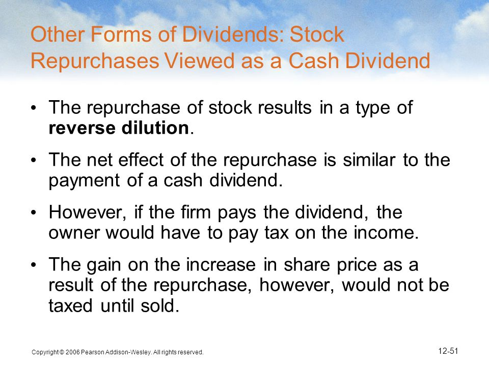 Other Forms of Dividends: Stock Repurchases Viewed as a Cash Dividend