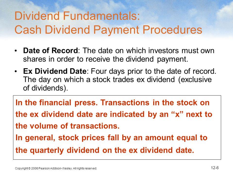 Dividend Fundamentals: Cash Dividend Payment Procedures