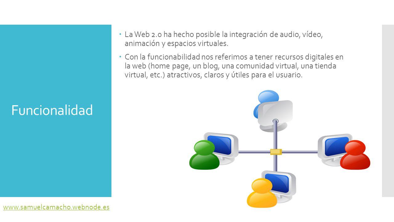 La Web 2.0 ha hecho posible la integración de audio, vídeo, animación y espacios virtuales.