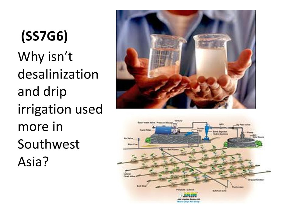 (SS7G6) Why isn't desalinization and drip irrigation used more in Southwest Asia