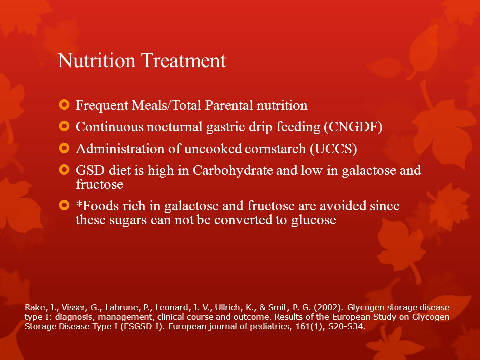 Nutrition Treatment Frequent Meals/Total Parental nutrition