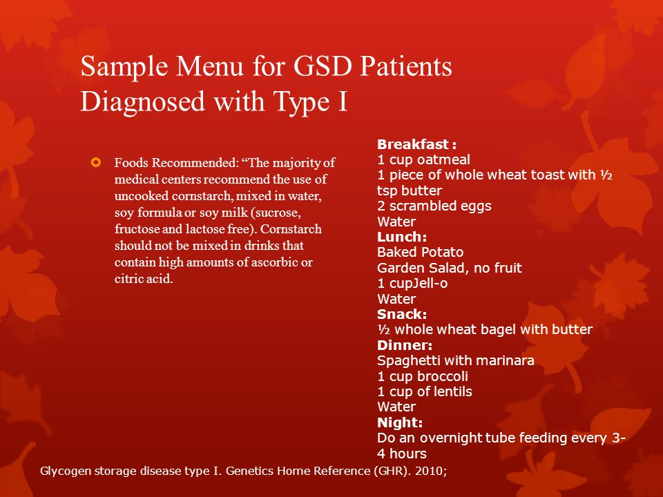 Sample Menu for GSD Patients Diagnosed with Type I