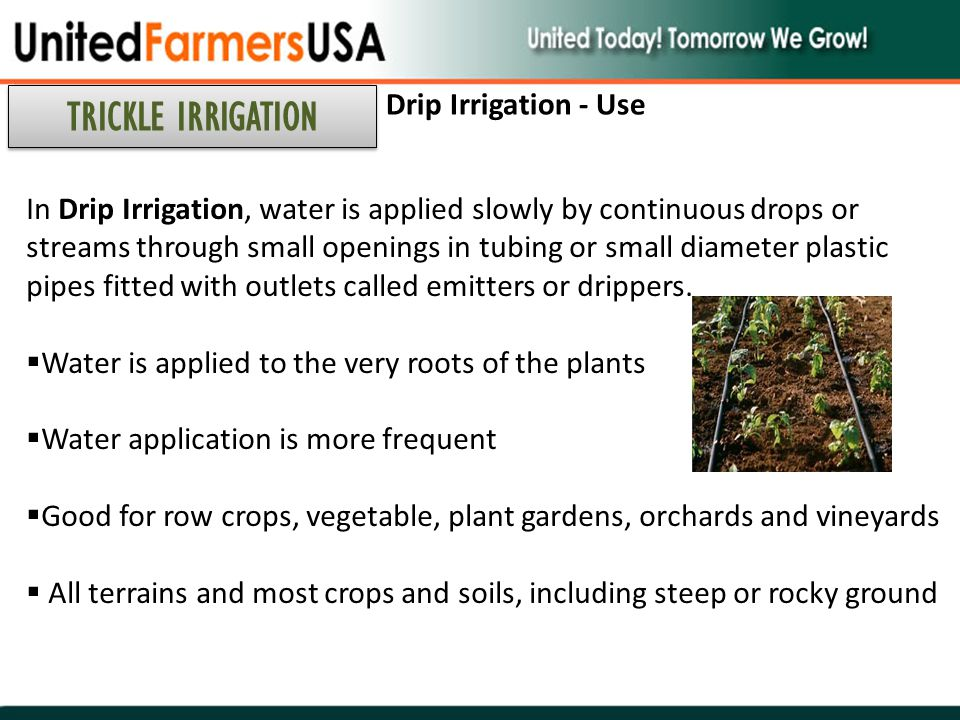 TRICKLE IRRIGATION Drip Irrigation - Use