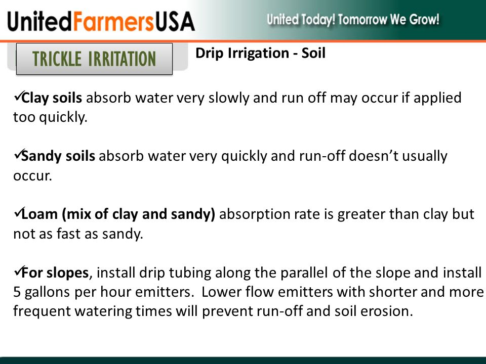 TRICKLE IRRITATION Drip Irrigation - Soil