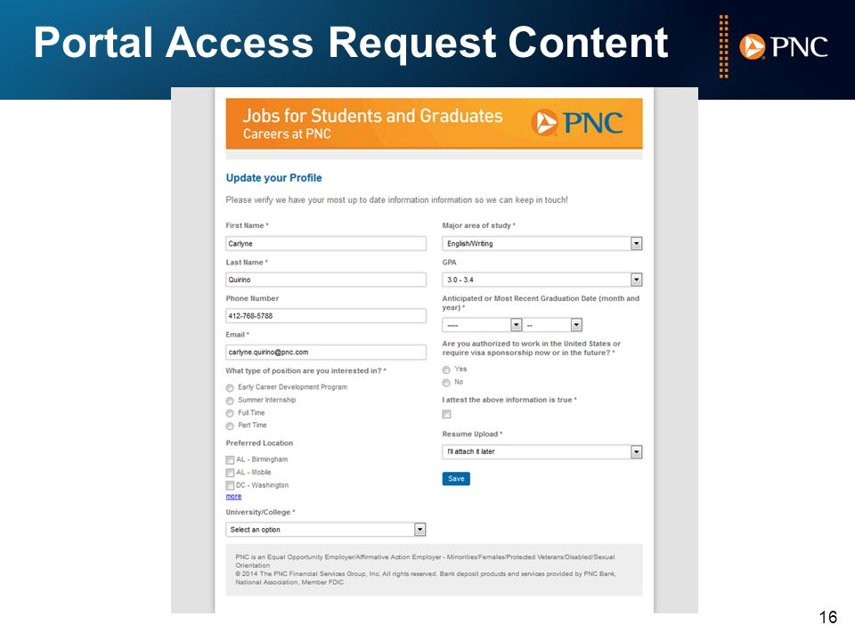 Portal Access Request Content