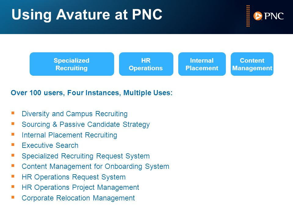 Using Avature at PNC Over 100 users, Four Instances, Multiple Uses:
