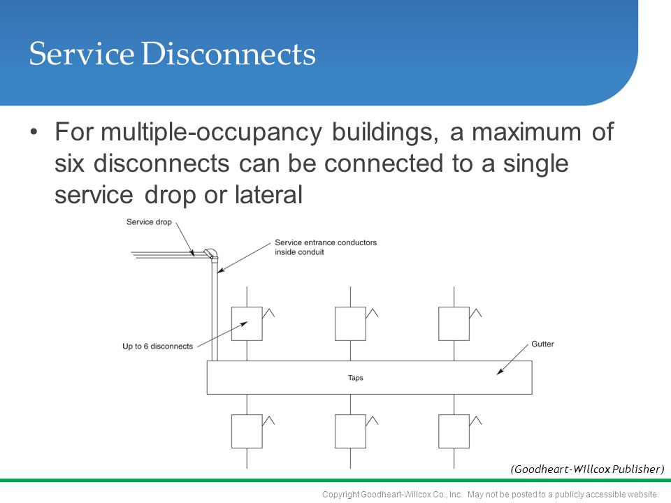 Service Disconnects For multiple-occupancy buildings, a maximum of six disconnects can be connected to a single service drop or lateral.