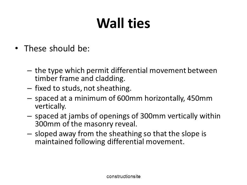 Wall ties These should be: