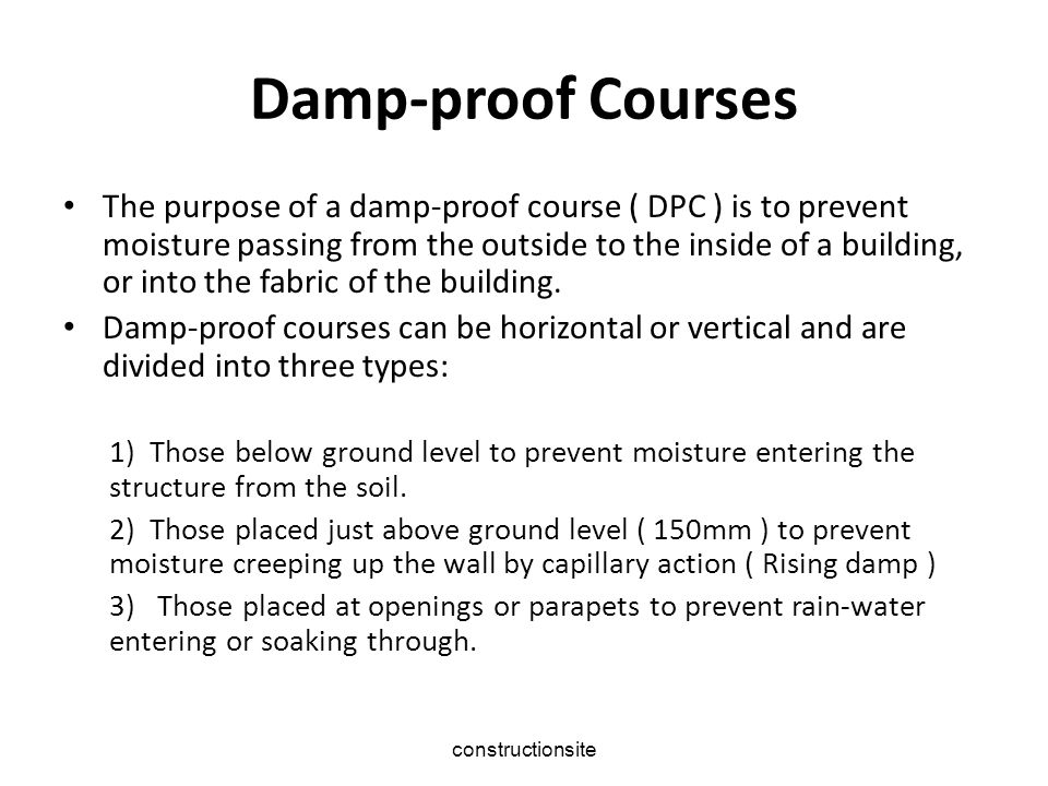 Damp‑proof Courses
