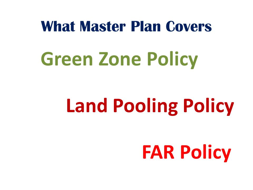 What Master Plan Covers