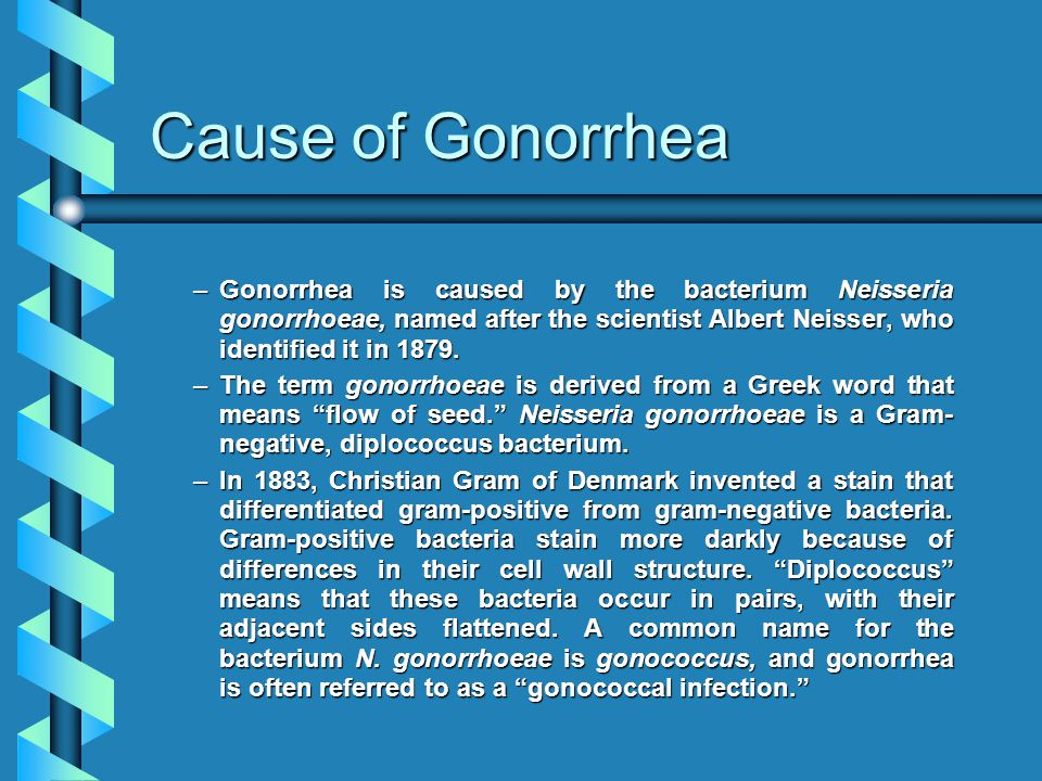 Cause of Gonorrhea Gonorrhea is caused by the bacterium Neisseria gonorrhoeae, named after the scientist Albert Neisser, who identified it in 1879.