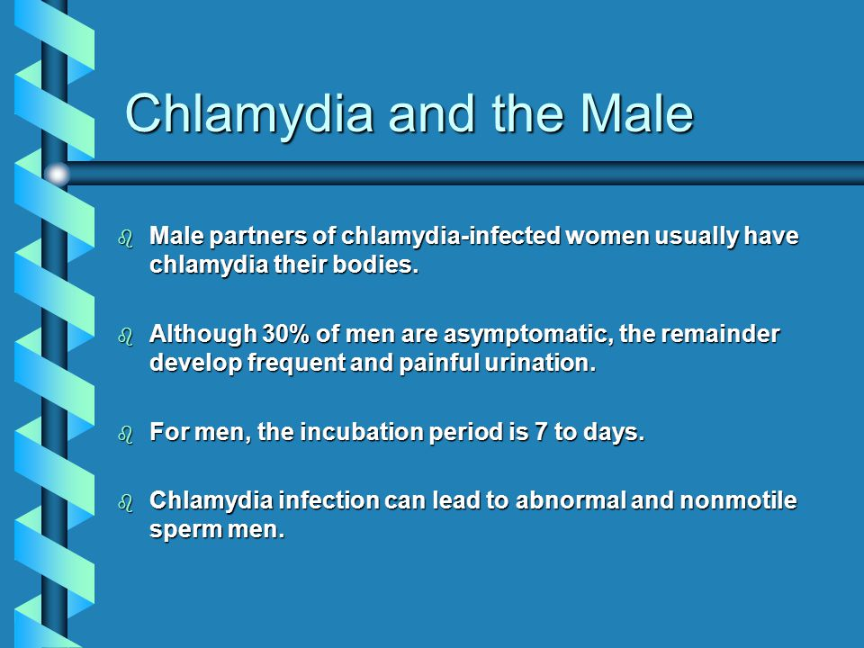 Chlamydia and the Male Male partners of chlamydia-infected women usually have chlamydia their bodies.