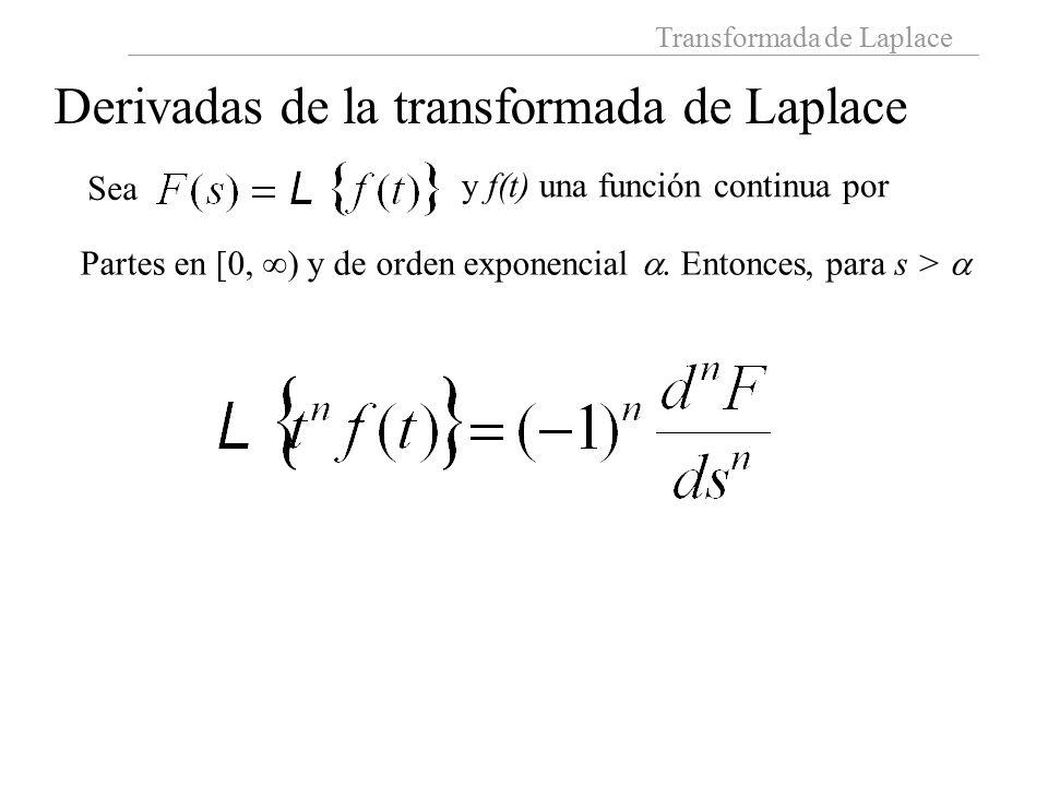 Derivadas de la transformada de Laplace