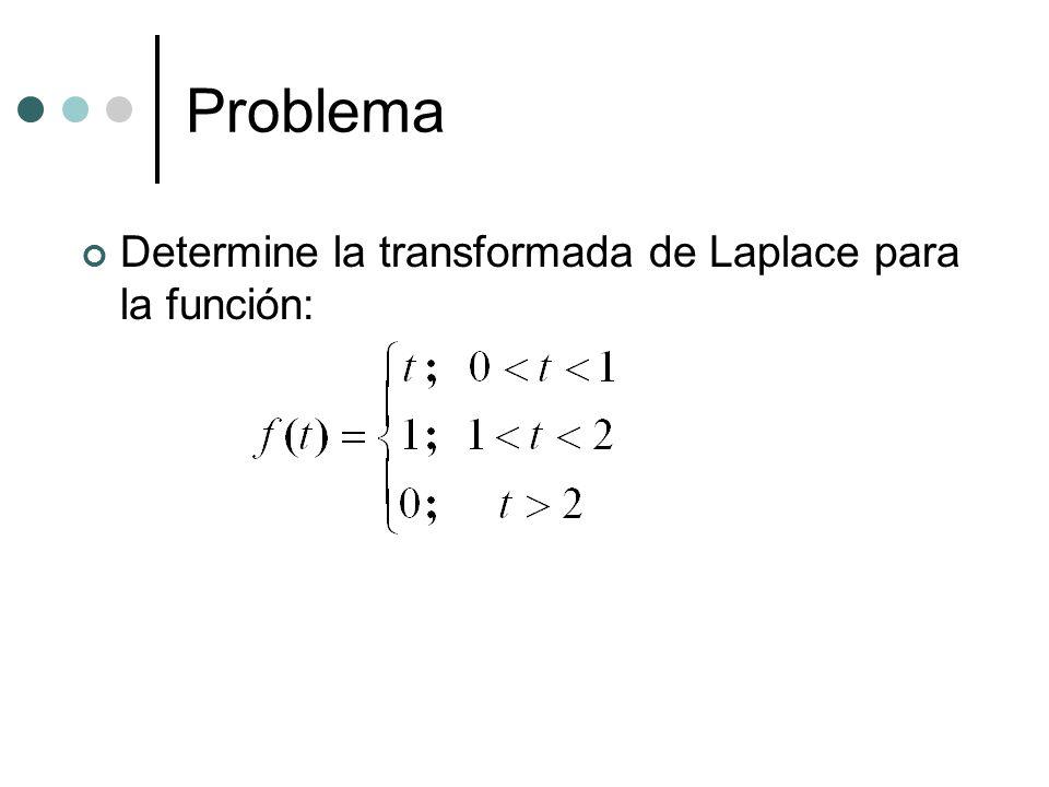 Problema Determine la transformada de Laplace para la función: