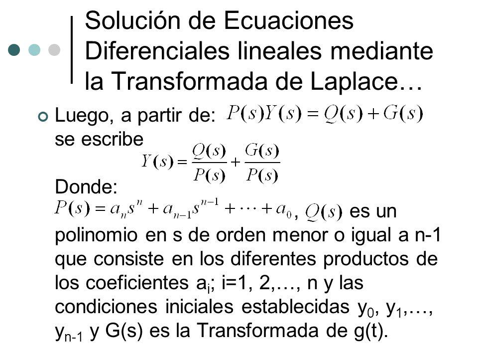 Solución de Ecuaciones Diferenciales lineales mediante la Transformada de Laplace…