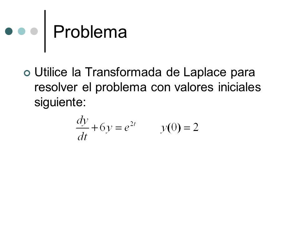 Problema Utilice la Transformada de Laplace para resolver el problema con valores iniciales siguiente: