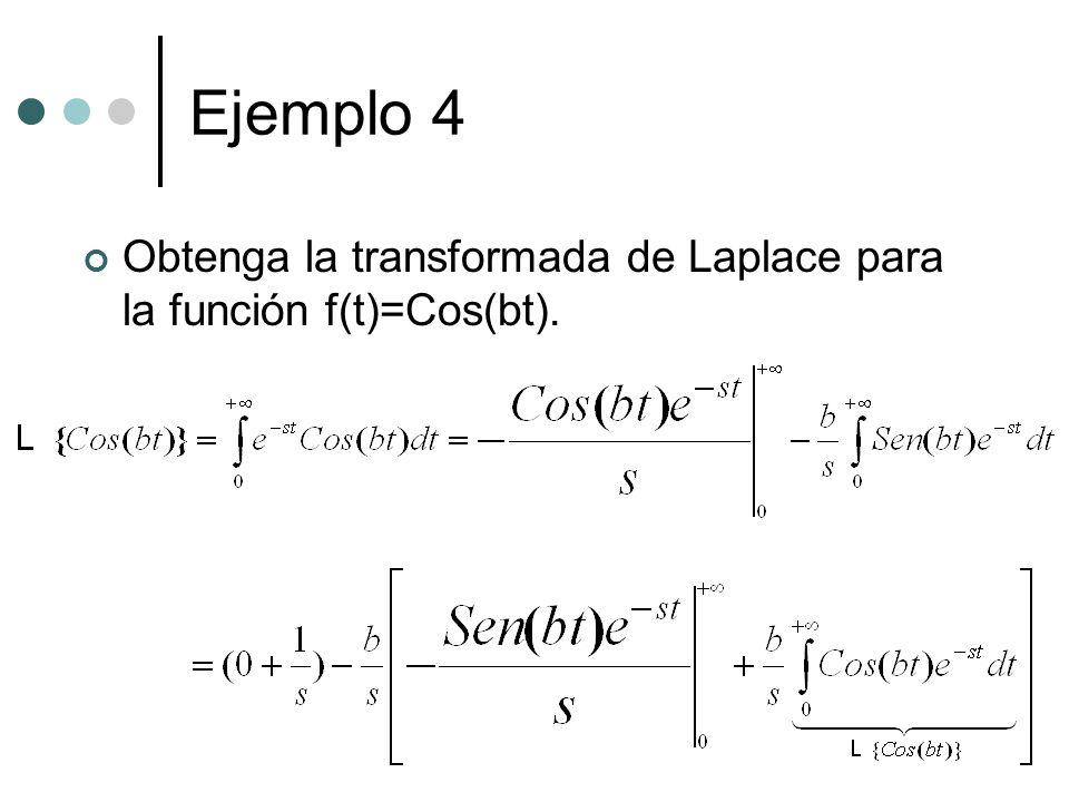 Ejemplo 4 Obtenga la transformada de Laplace para la función f(t)=Cos(bt).