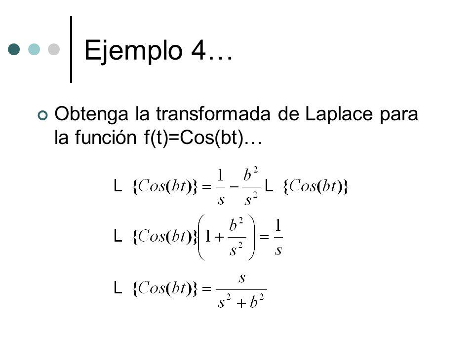 Ejemplo 4… Obtenga la transformada de Laplace para la función f(t)=Cos(bt)…