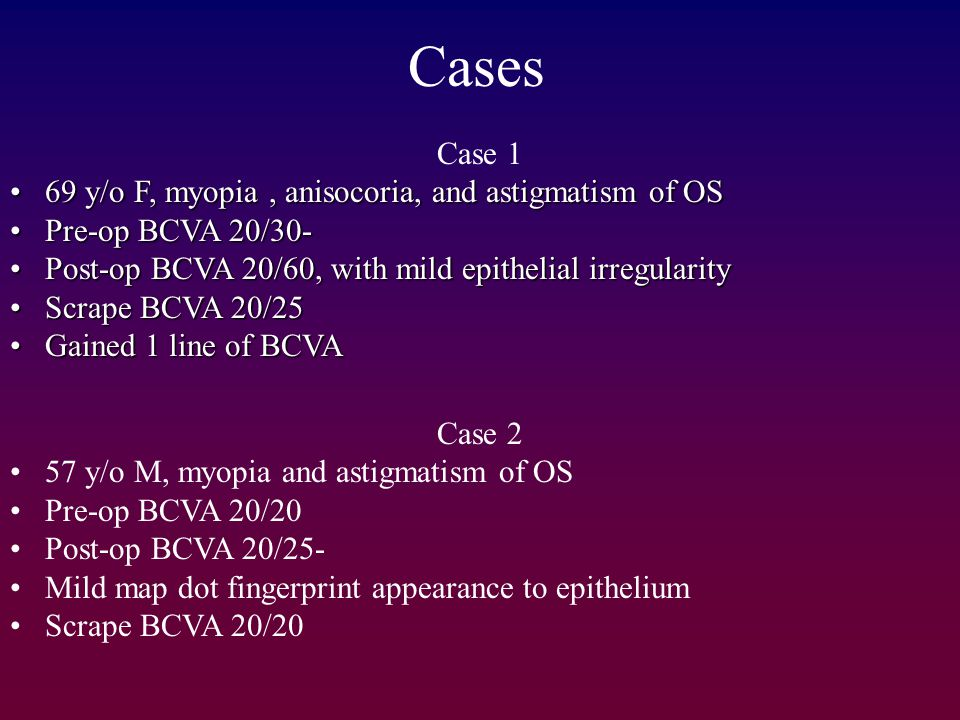 Cases Case 1 69 y/o F, myopia , anisocoria, and astigmatism of OS