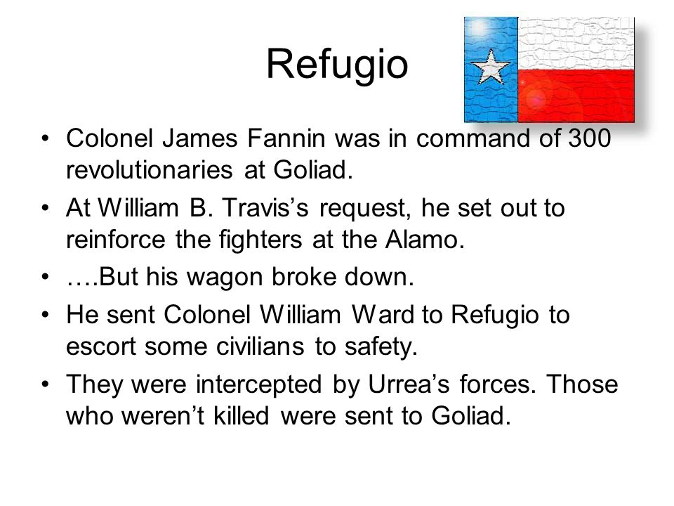 Refugio Colonel James Fannin was in command of 300 revolutionaries at Goliad.