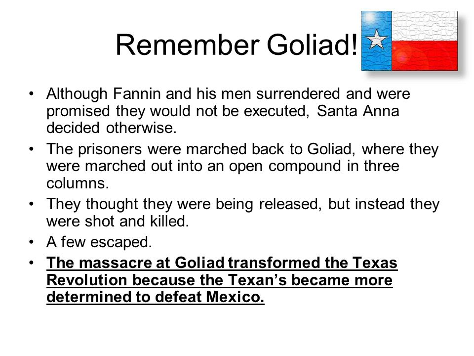 Remember Goliad! Although Fannin and his men surrendered and were promised they would not be executed, Santa Anna decided otherwise.