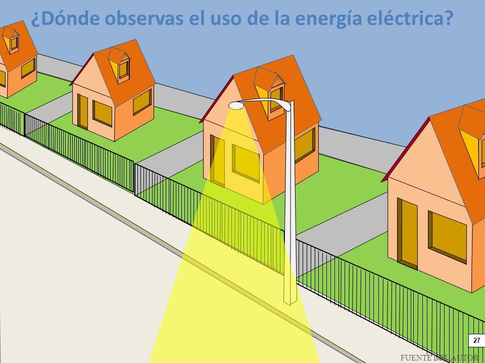 ¿Dónde observas el uso de la energía eléctrica