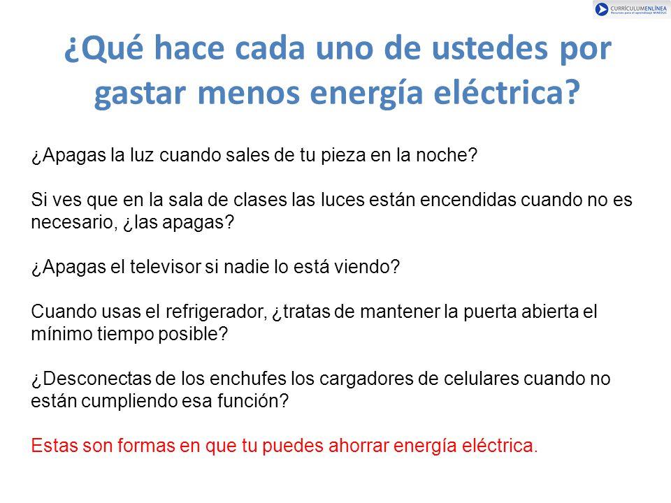 ¿Qué hace cada uno de ustedes por gastar menos energía eléctrica
