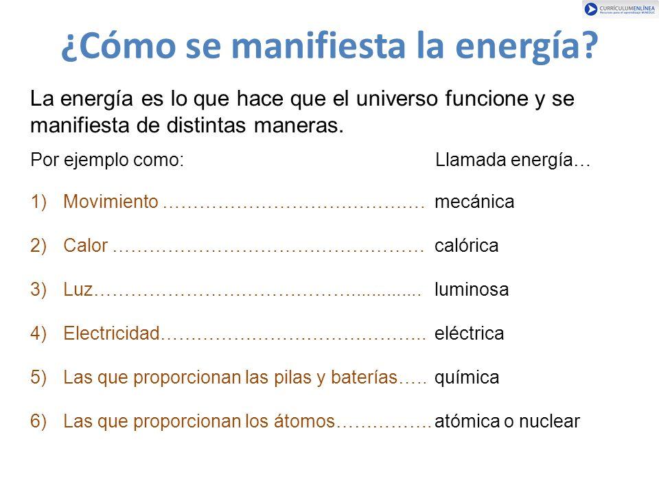 ¿Cómo se manifiesta la energía