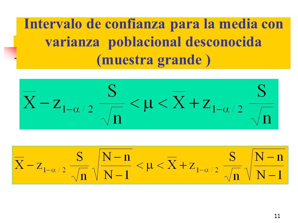 Intervalo de confianza para la media con varianza poblacional desconocida (muestra grande )