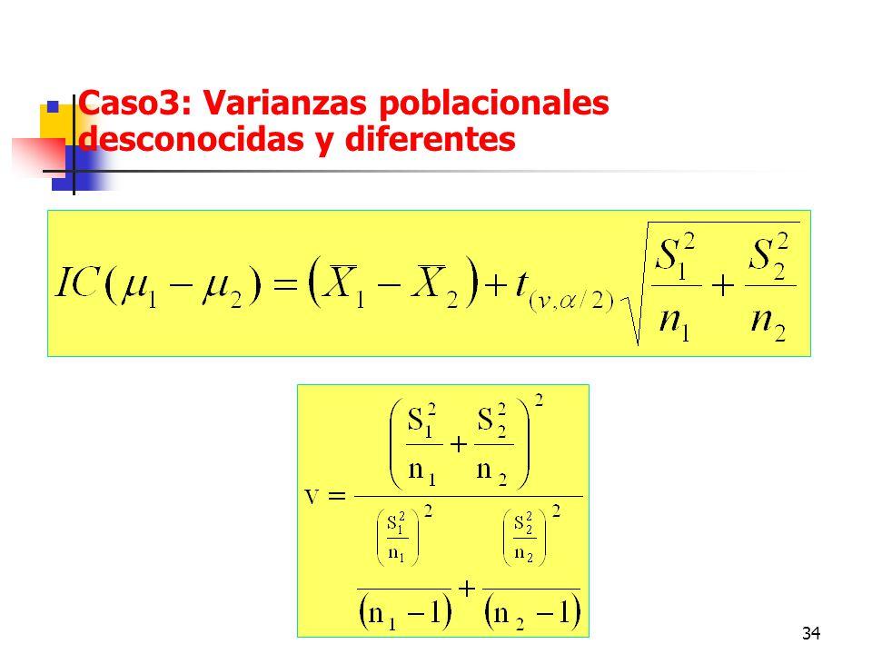 Caso3: Varianzas poblacionales desconocidas y diferentes