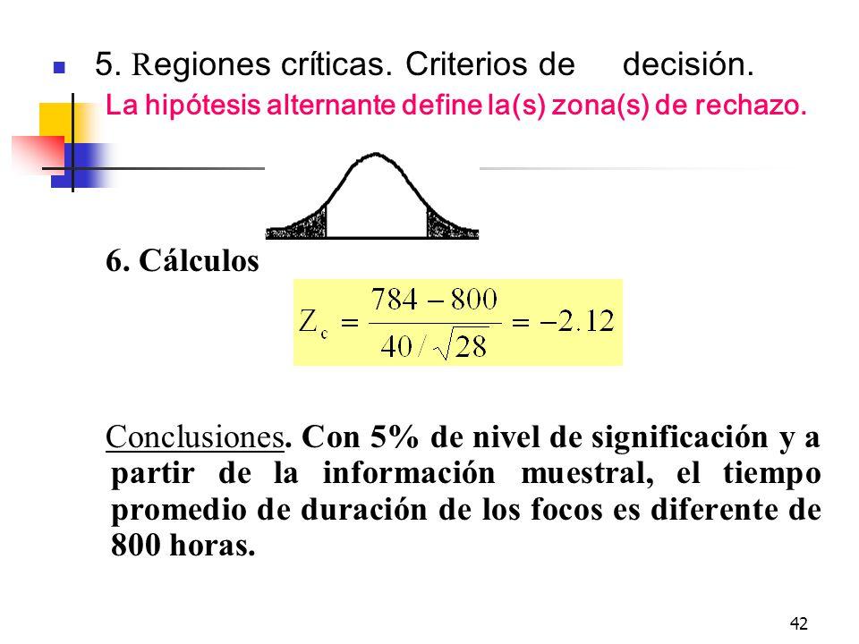 5. Regiones críticas. Criterios de decisión.