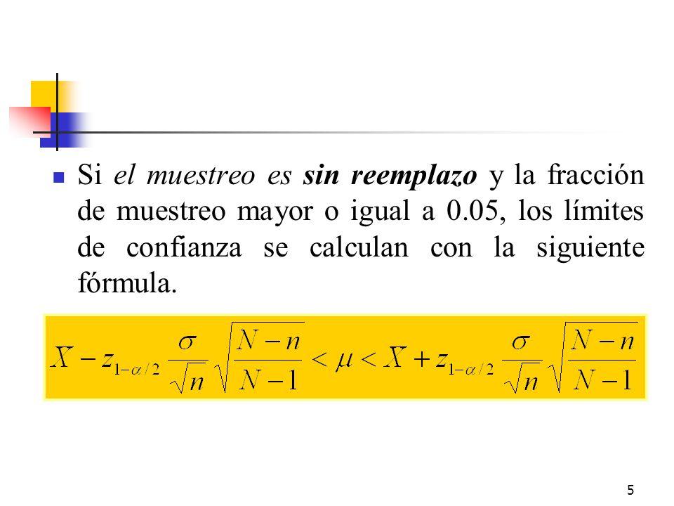 Si el muestreo es sin reemplazo y la fracción de muestreo mayor o igual a 0.05, los límites de confianza se calculan con la siguiente fórmula.