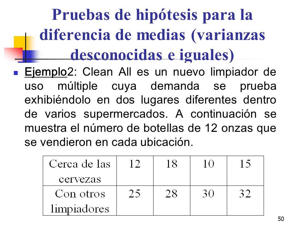 Pruebas de hipótesis para la diferencia de medias (varianzas desconocidas e iguales)