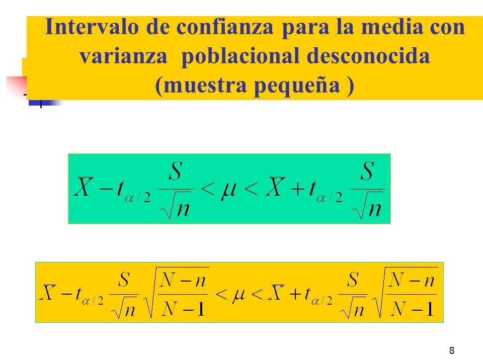 Intervalo de confianza para la media con varianza poblacional desconocida (muestra pequeña )