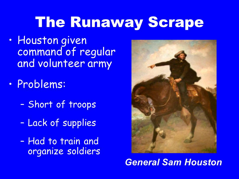 The Runaway Scrape Houston given command of regular and volunteer army