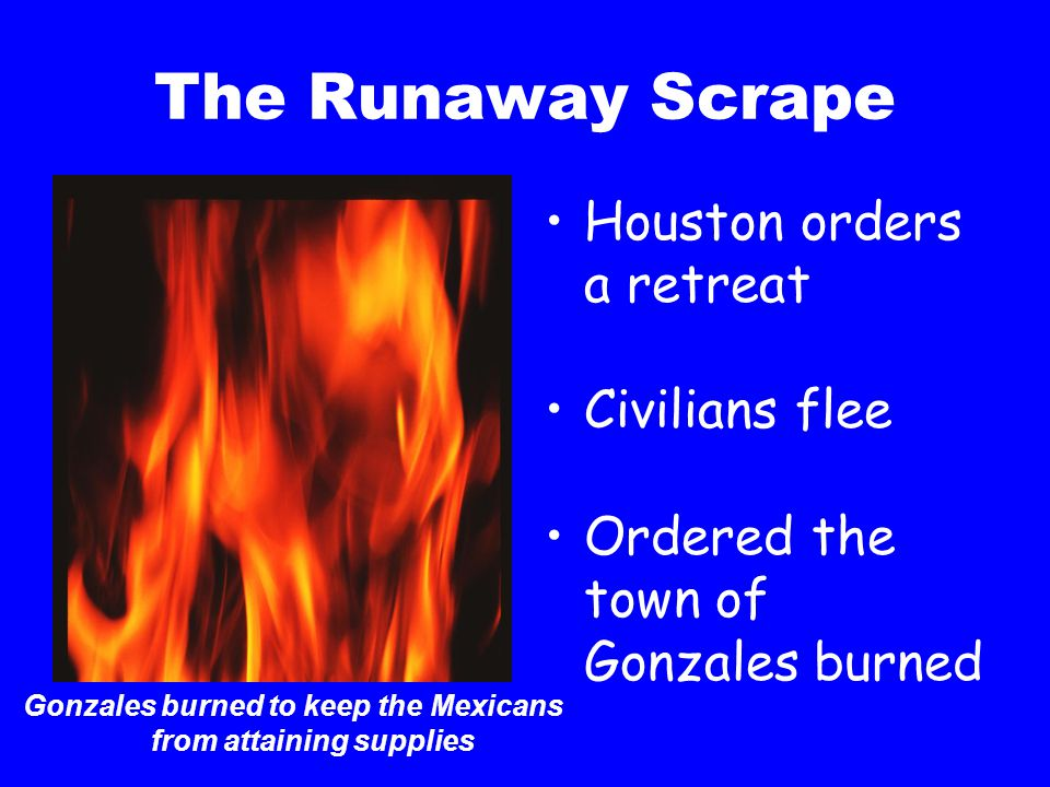 Gonzales burned to keep the Mexicans from attaining supplies