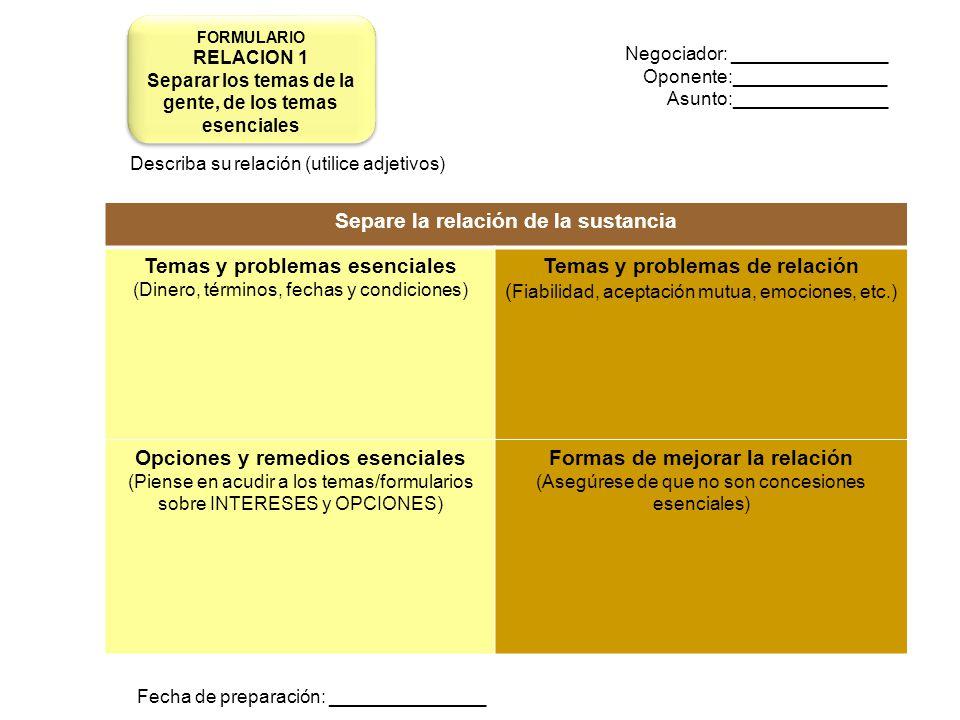 Separe la relación de la sustancia Temas y problemas esenciales