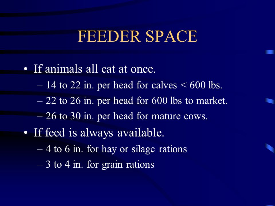 FEEDER SPACE If animals all eat at once. If feed is always available.