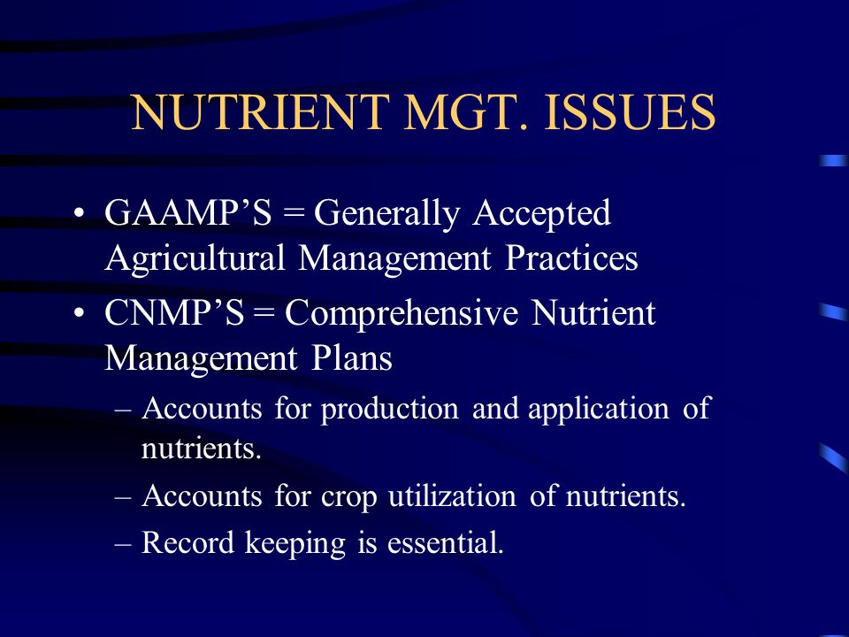 NUTRIENT MGT. ISSUES GAAMP'S = Generally Accepted Agricultural Management Practices. CNMP'S = Comprehensive Nutrient Management Plans.