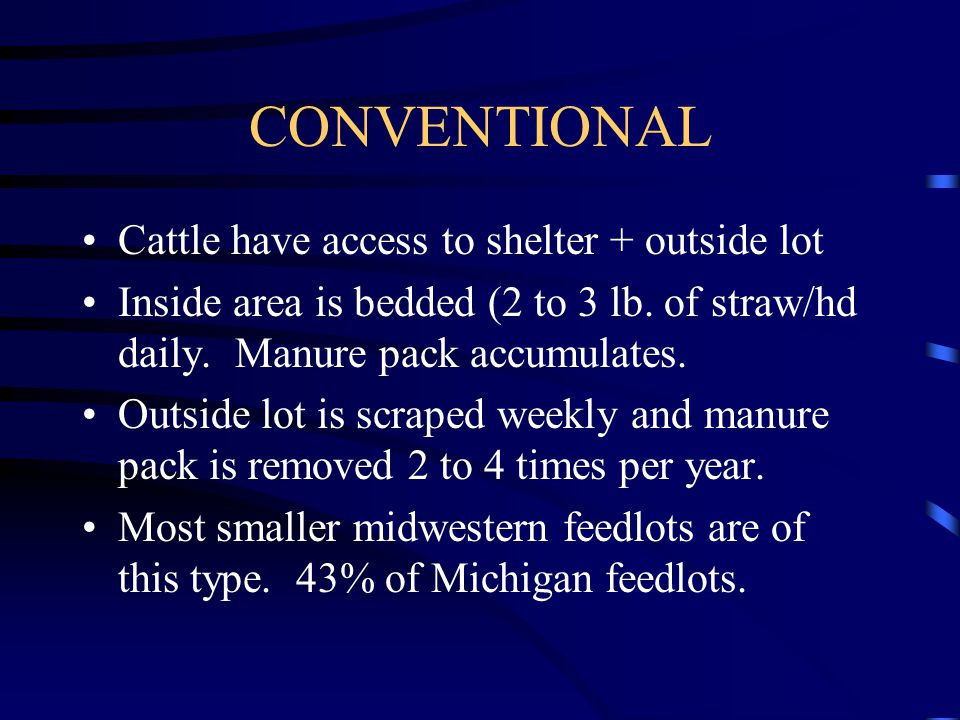 CONVENTIONAL Cattle have access to shelter + outside lot