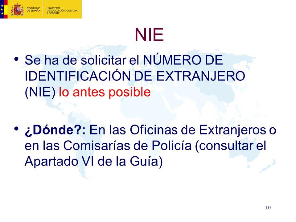 NIE Se ha de solicitar el NÚMERO DE IDENTIFICACIÓN DE EXTRANJERO (NIE) lo antes posible.