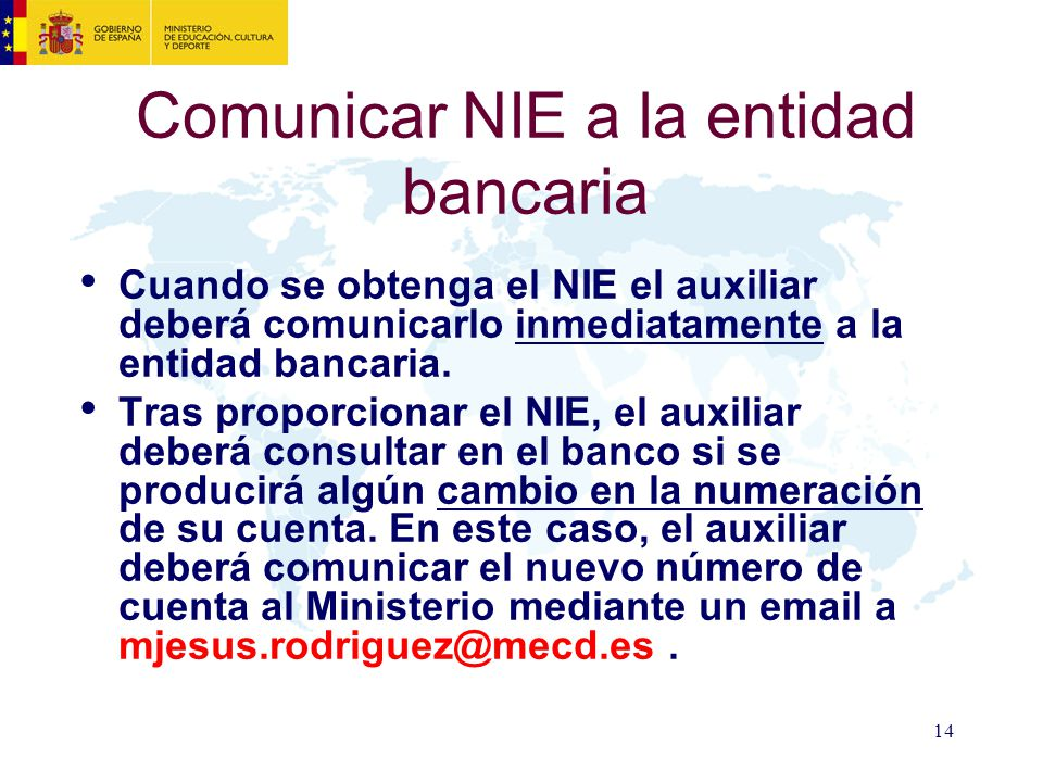 Comunicar NIE a la entidad bancaria