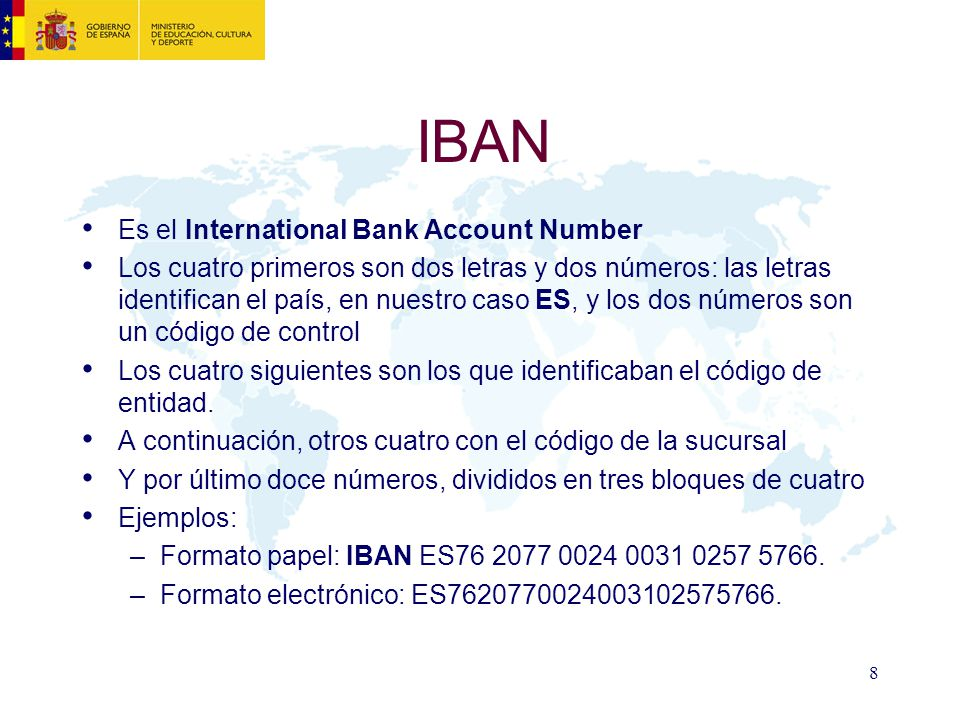IBAN Es el International Bank Account Number