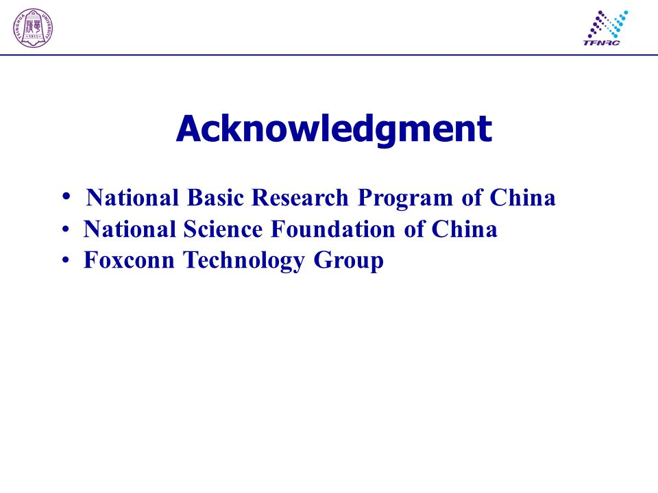 Acknowledgment National Basic Research Program of China