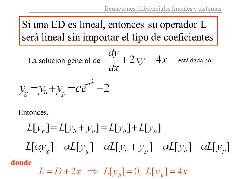 Si una ED es lineal, entonces su operador L