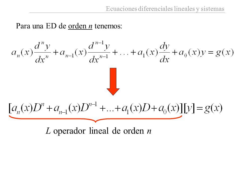 L operador lineal de orden n