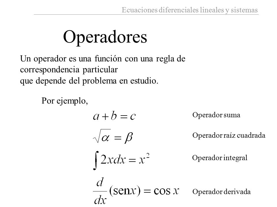 Operadores Un operador es una función con una regla de correspondencia particular. que depende del problema en estudio.