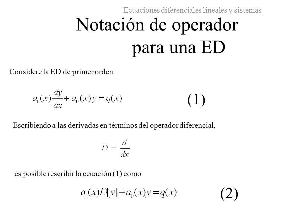 Notación de operador para una ED (1) (2)